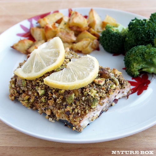 This Peppery Pistachio-Crusted Salmon uses  NatureBox Peppery Pistachios .
