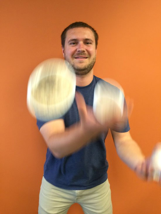 David attempting to juggle our three oatmeal cups!