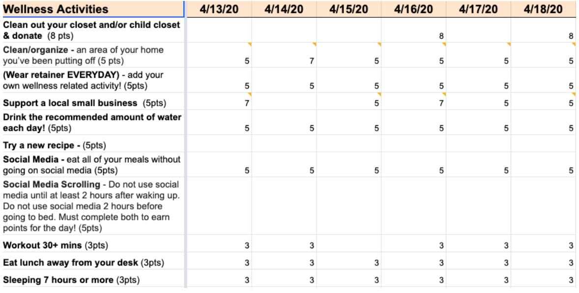 Wellness Challenge Scoresheet
