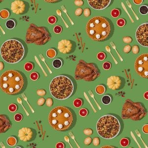 thanksgiving food flatlay pattern