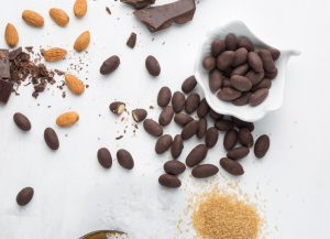 dark chocolate sea salt almonds flatlay image