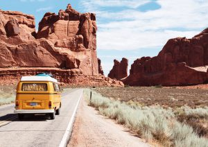 Van driving through Arches National Park