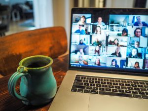 virtual event on laptop