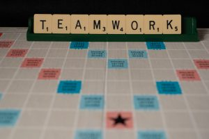 teamwork scrabble pieces