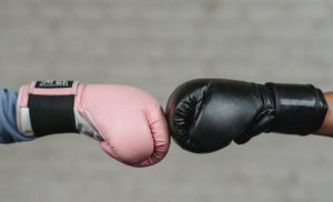 two boxing gloves fist to fist